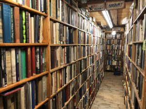 Long Aisles of Books at Avenue Victor Hugo Books, a used bookstore near Durham and the University of New Hampshire (UNH)